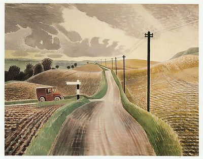 Wiltshire Landscape, Eric Ravilious vintage print 1983 ready mounted SUPERB