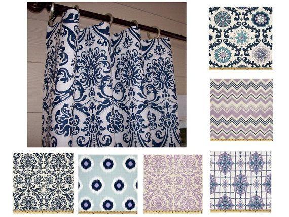 Ikat Dew Berries Curtain Panels 25 x 96 by SewDivinebyAmanda, $77.50