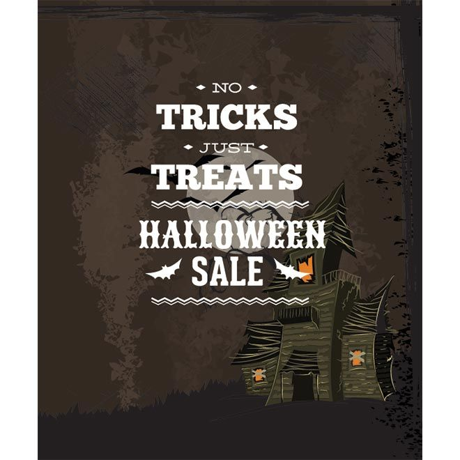 No Tricks Just Treats Halloween poster design in background hunted house on grunge poster and greeting card template design illustration