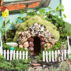 Make a charming Fairy Garden with things easily found at home.  Instructions for Bee Skep, Rake, Birdhouse, Birdbath, Swing and Gazing Ball