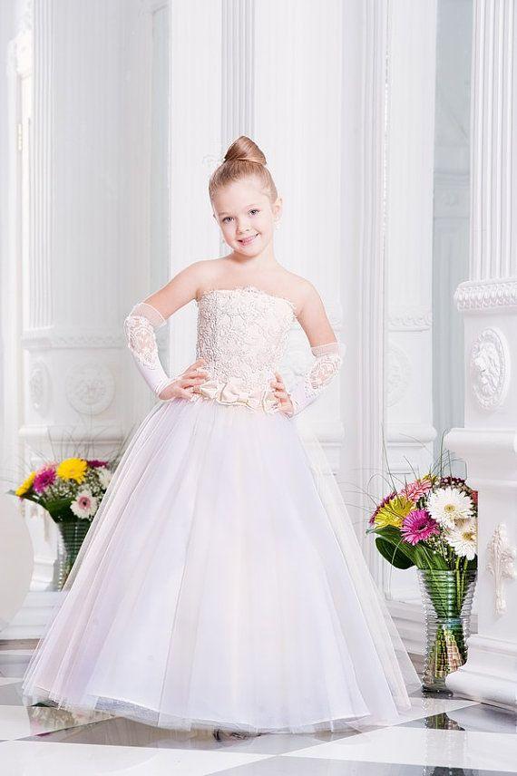 Ivory Flower Girl Dress | Tulle Dress | Girls Dresses | Pageant Dresses | Toddler Dresses or older | Girls Formal Dresses for Weddings