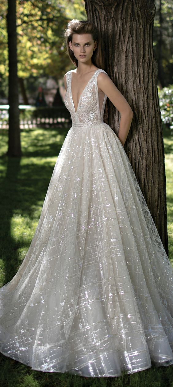 Deep V-neck Wedding Dress by Berta Spring 2016 Bridal