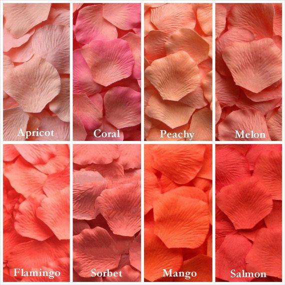 Pétales de Rose de soie corail, 8 nuances de corail artificiel pétales de Rose, faux pétales de Rose, pétales de rose pour les coureurs de l'allée, pétales de fille de fleur