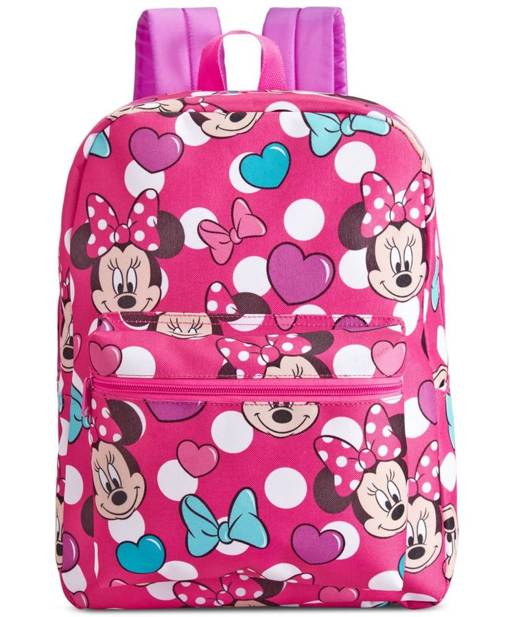 Finished with an adorable Minnie Mouse print, this bright and colorful backpack is the perfect choice for your little girl's school days and beyond. | Polyester | Wipe clean | Imported | Top handle an