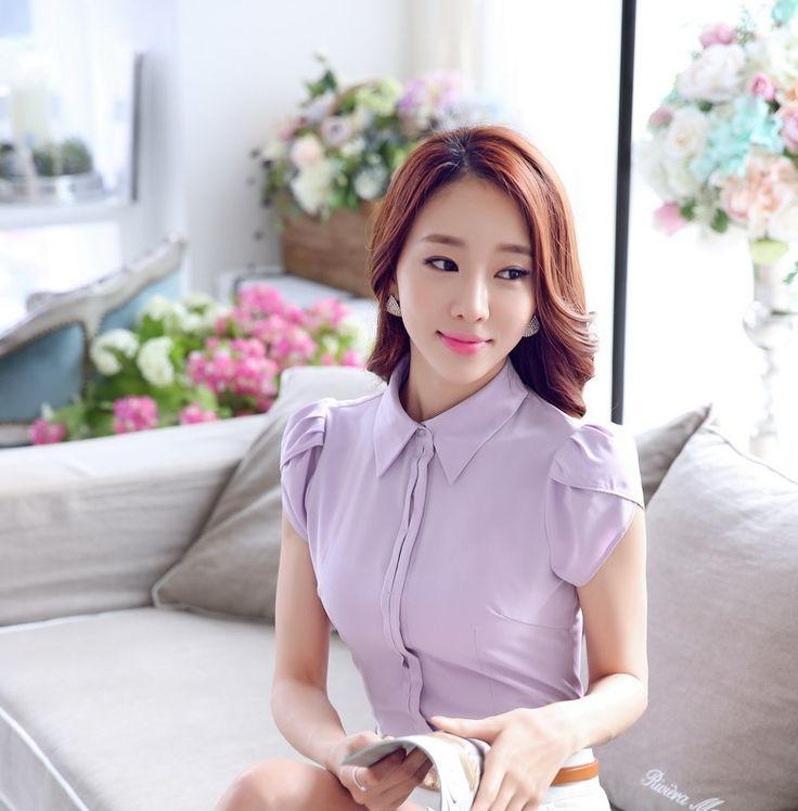 Más tamaño novedad azul delgado moda verano mujer Blusas y camisas de manga corta para Office Lady uniforme camisa OL Blusas Femininas en Blusas y Camisas de Moda y Complementos Mujer en AliExpress.com | Alibaba Group