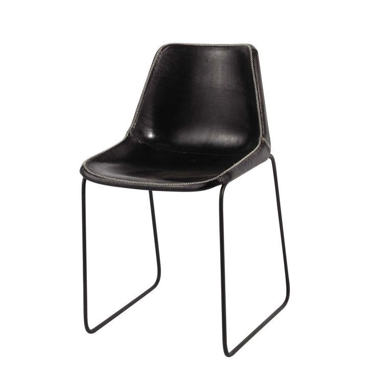 Zwarte metalen en leren industriële stoel Waterloo