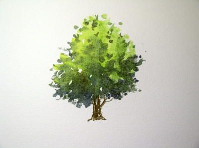How to paint a tree & foliage in watercolor