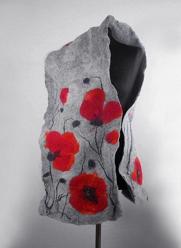 Felted Scarf Poppy scarf Red Poppies  Art Wrap Artistic Shawl Nuno felt Scarves Felt grey gray Nuno felt wearable art Silk  Fiber Art. $99.00, via Etsy.