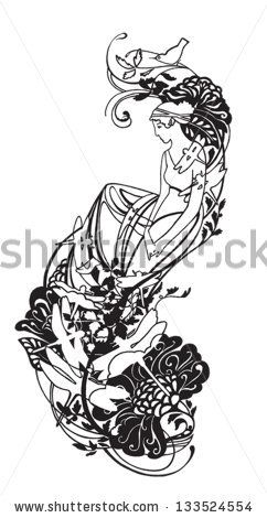 Beautiful Greek goddess. Tattoo, sticker on the wall, pattern. by shna, via ShutterStock