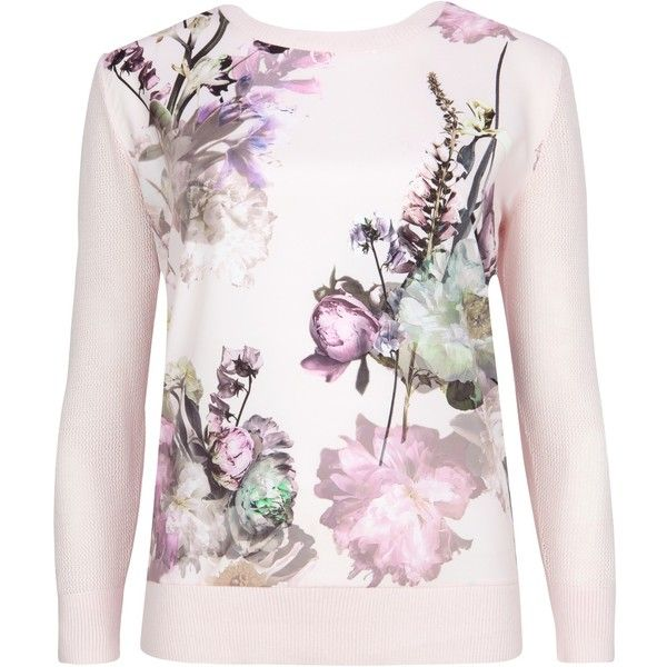 Ted Baker Torchlit Floral Jumper, Rosily featuring polyvore fashion clothing tops sweaters long sleeve tops jumper top white jumper long sleeve jumper floral jumper