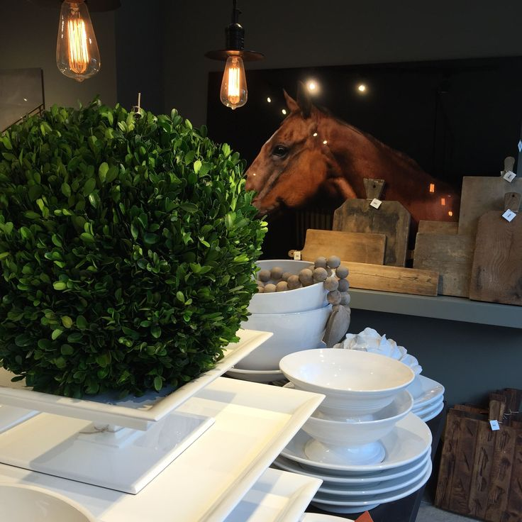 Our Italian ceramics, antique cutting boards, art, and even boxwood, beautifully presented at our San Francisco Flagship Store http://www.hudsongracesf.com