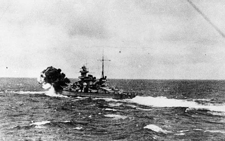 Scharnhorst firing her forward guns against HMS Glorious, 8 Jun 1940