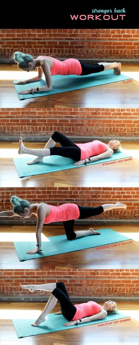 Stronger abs and back workout includes plank, straight leg raise, opposite arm & leg lift, and tabletop tap-downs.