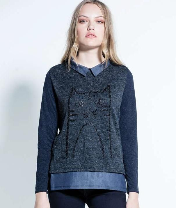 Kalisson Sequinned Cat Logo Sweater with Collar