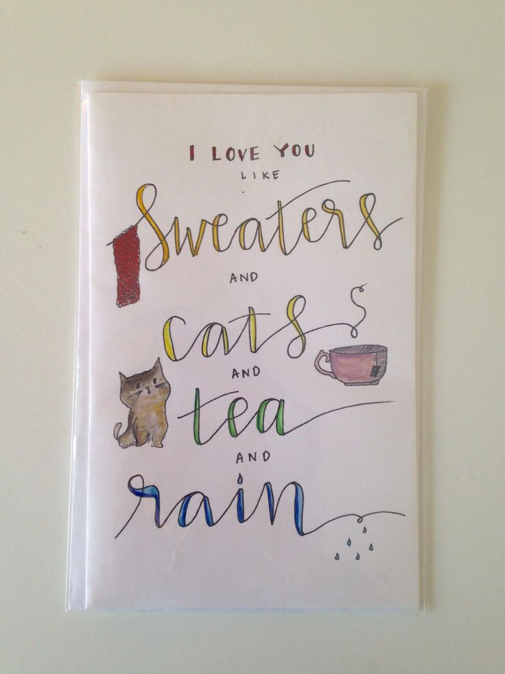 I Love You Like Sweaters and Cats and Tea and Rain: Mushpa + Mensa Original Watercolored Design Greeting Card Blank Inside - Card & Envelope http://etsy.me/2BNfxdO #papergoods #cats #tea #sweaters #love #rain #favoritethings #greetingcard #card
