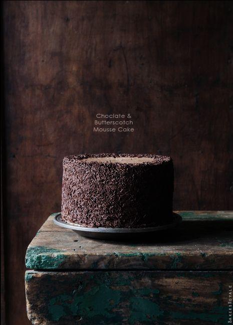 Chocolate & Butterscotch Mousse Cake via Bakers Royale