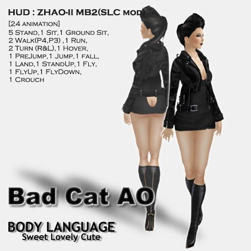 """AO HUD"" SLC Bad Cat AO SET [Body Language by SLC] for Second Life."