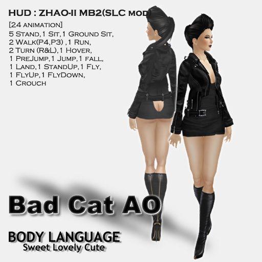 """AO HUD"" SLC Bad Cat AO SET [Body Language by SLC] for Second Life."