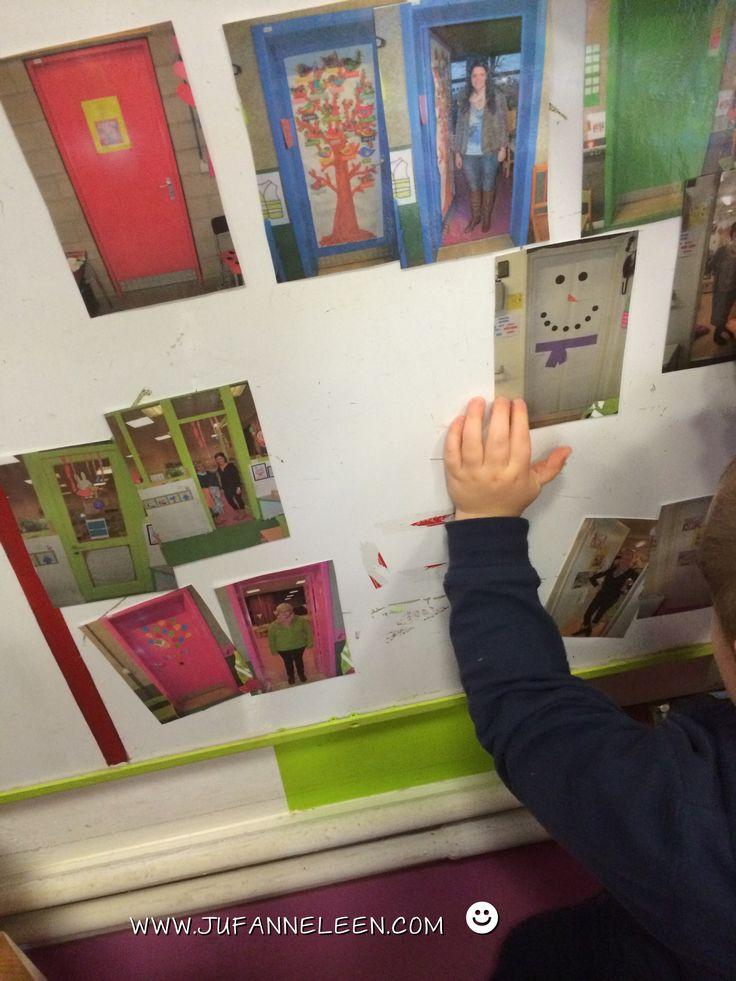 Peuters thema deuren: magneetspel: maak een foto van elke klasdeur: gesloten deur en geopende deur met de bijhorende juf/meester in het deurgat. Peuters zoeken de paren bij elkaar!