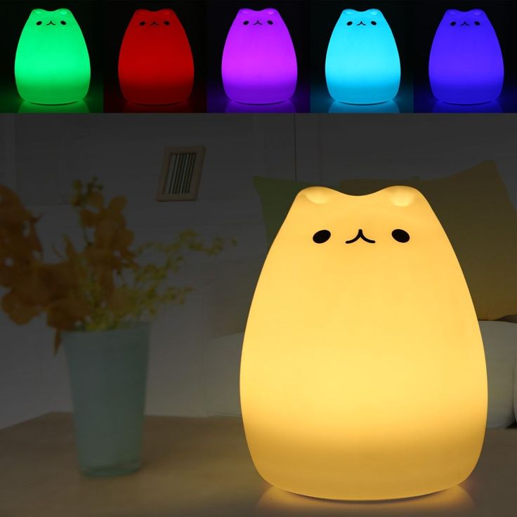Premium Cat Color Light Changing Silicone Cat Night Lights Bedside Lamp 2 Modes Children Cute Night Lamp Christmas Bedroom Light