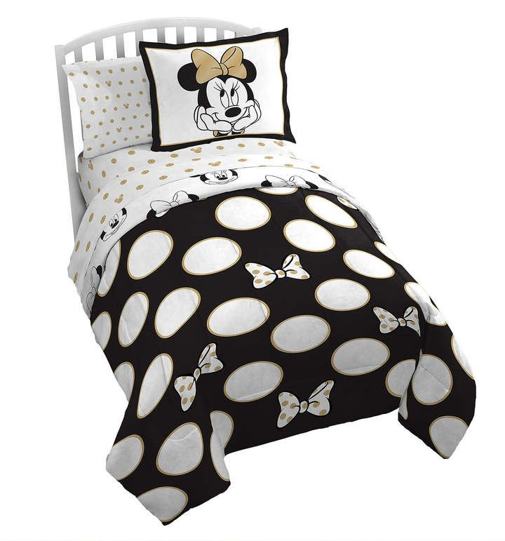 Minnie Mouse Gold Polka Dot Comforter Set Twin Minniemouse