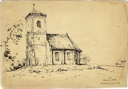 De Stompe Toren van Spaarnwoude op een ets van Anton Pieck (Noord Hollands Archief)