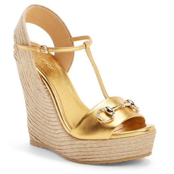 """Gucci 'Rafia' T-Strap Wedge Sandal, 4 3/4"""" heel (3214965 PYG) ❤ liked on Polyvore featuring shoes, sandals, wedges, heels, gold leather, t strap sandals, t strap wedge sandals, platform wedge sandals, metallic wedge sandals and leather wedge sandals"""