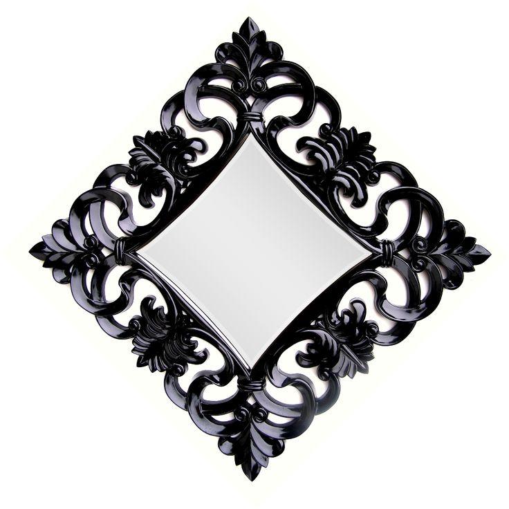 Rama lustra wykonana z masy żywicznej i pokryta czarnym lakierem. Tafla lustra kryształowa, szlif fazowy.