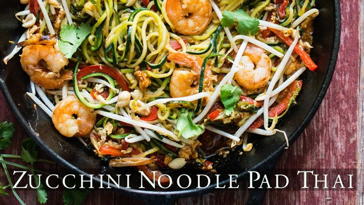 Low Carb, delicious pad thai made with zucchini noodles. Recipe and images here: http://whiteonricecouple.com/recipes/zucchini-noodle-pad-thai-recipe/