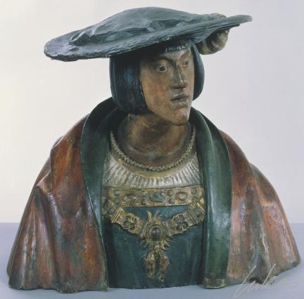 Buste van Keizer Karel  naar Conrad Meit , Zuidelijke Nederlanden, 16de eeuw Anonieme meester   circa 1515 - 1519 - gips, pijpaarde, polychromie. Museum voor Schone Kunsten Gent