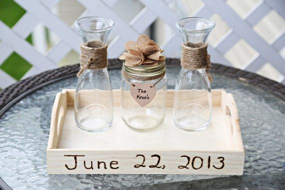 Personalized Rustic Theme Mason Jar Vase Wedding ... | Wedding Ideas
