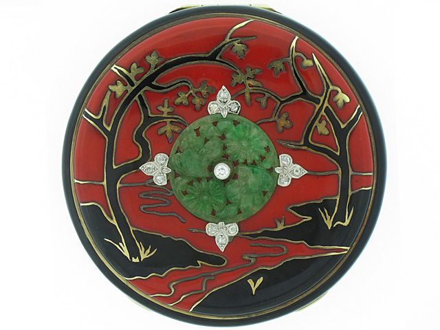 Art Deco Chinoiserie Compact with Jade and Diamonds,  #ArtDecoCompany #VonGiesbrechtJewels