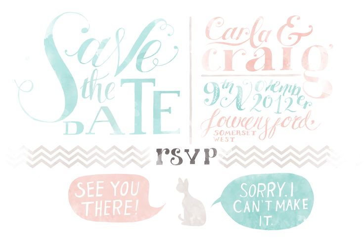 Hand Illustrated and lettered save the date by Secret Diary.