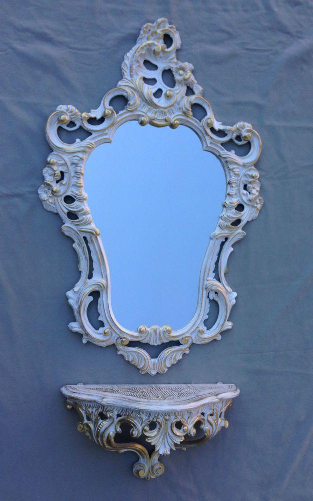 rococò specchiera a parete specchio+Consolle Bianco-Oro ANTICO BAROCCO Nuovo 2