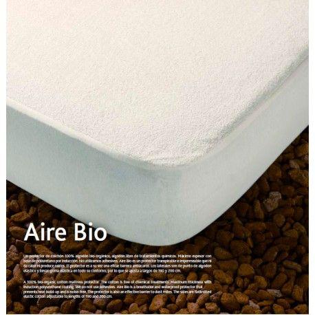 Protector Colchón Bio Protector de colchón Aire Bio de Kamasana Acolchado por ultrasonido y resistente a roces Confeccionado con ribete y goma elástica por todo el contorno. Tejido: Rizo 100% algodón bio - orgánico Base: Poliuretano PU por inducción Platabanda: punto 100% algodón Hecho en España