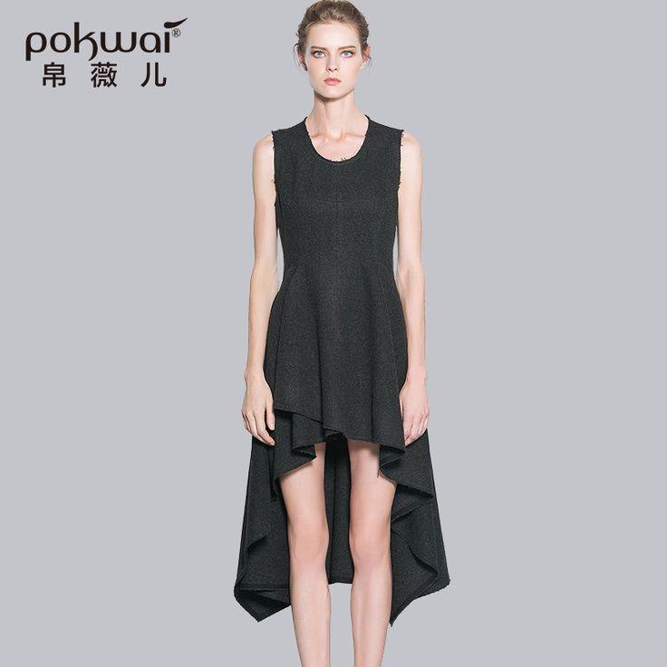 >> Click to Buy << POKWAI Elegant Long Casual Spring Wool Dress Women 2017 Luxury Brand Quality Womens Clothing Sleeveless Tank Dresses #Affiliate