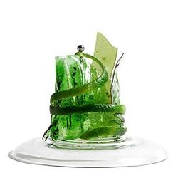 The Frank Gehry Cocktail. Water, tonic water, unflavored gelatin, Vodka, lime juice, sugar, absinthe, blue food coloring, and lime peel. From Russia with Love.