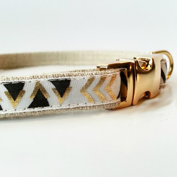 Felix Chien - Gold Tribal Puppy Collar, $22.00 (http://www.felixchien.com/gold-tribal-puppy-collar/)