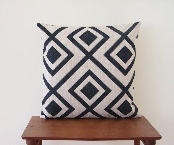 Pillow Cover Cushion Cover 18x18 Black Diamond by BeadandReel