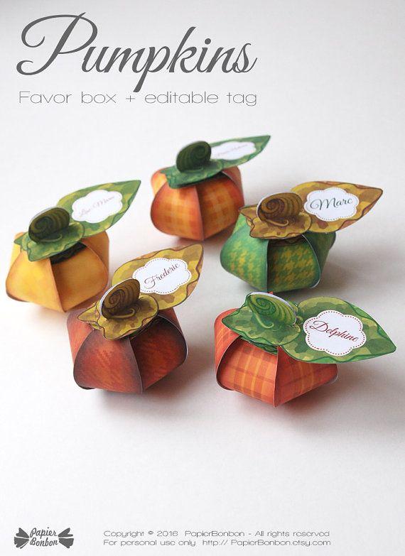 Thanksgiving Pumpkin favor box DIY Printable  5 by PapierBonbon