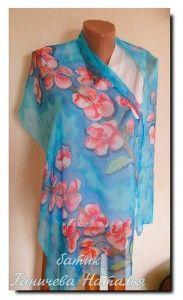 шарф с цветущей сакурой, 160х45, шелк-фуляр, холодный батик, профессиональные красители, подшит вручную, продается — 2200 руб.