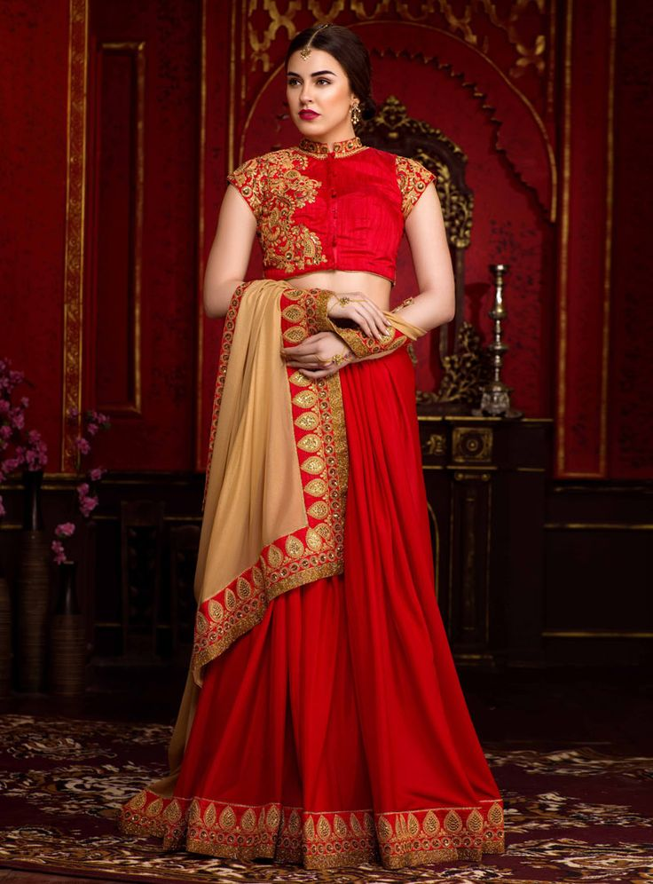 Red Georgette Saree With Heavy Blouse 88939
