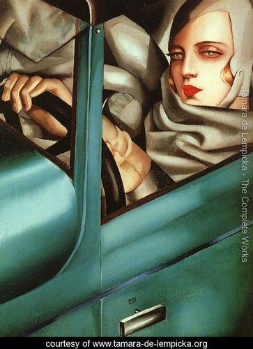 Tamara de Lempicka, Self-portrait in the green Bugatti, 1925. «La mattina del 21 gennaio Tamara lascia il Vittoriale...»