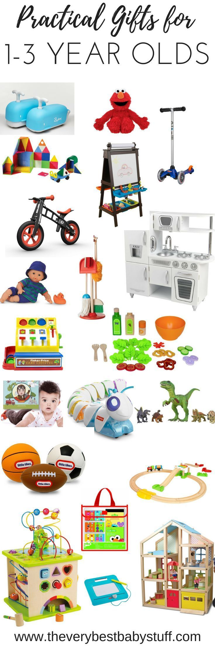 2016 holiday gift guide for one to three year olds.  Toddler gift guide.  Birthday present.  Scooter.  Magna-tiles.  Easel. Friendimal. Elmo. Stickers, Play kitchen, Hape, kitchen accessories, green toys, sticker, art supplies, kiwi crate, costume, dress up, magna doodle, schleich, dinosaur toy.  Practical gifts. Niece gift, nephew gift
