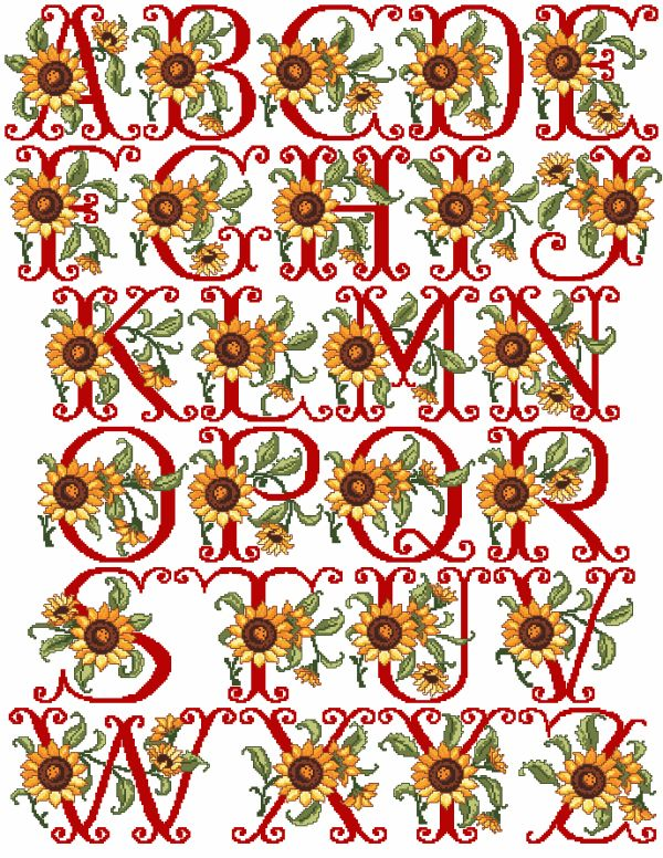 Sunflowers Alphabet in Cross Stitch