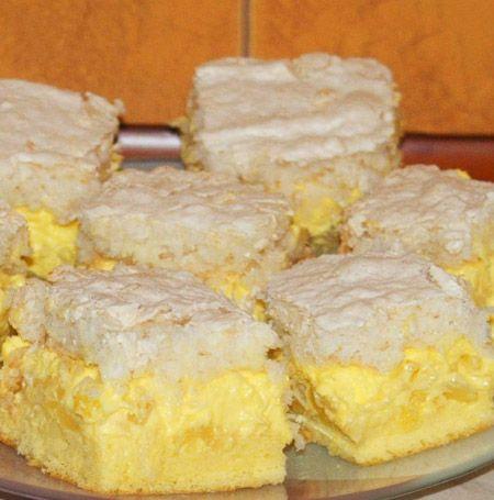 Prajitura cu crema de ananas si cocos este un desert aromat, racoros, perfect pentru orice ocazie. Cele doua blaturi se combina perfect cu crema delicioasa de ananas. Ingrediente Prajitura cu crema de ananas si cocos: Blat simplu: 4 oua 4 linguri zahar 4 linguri faina 1 lingurita praf de copt