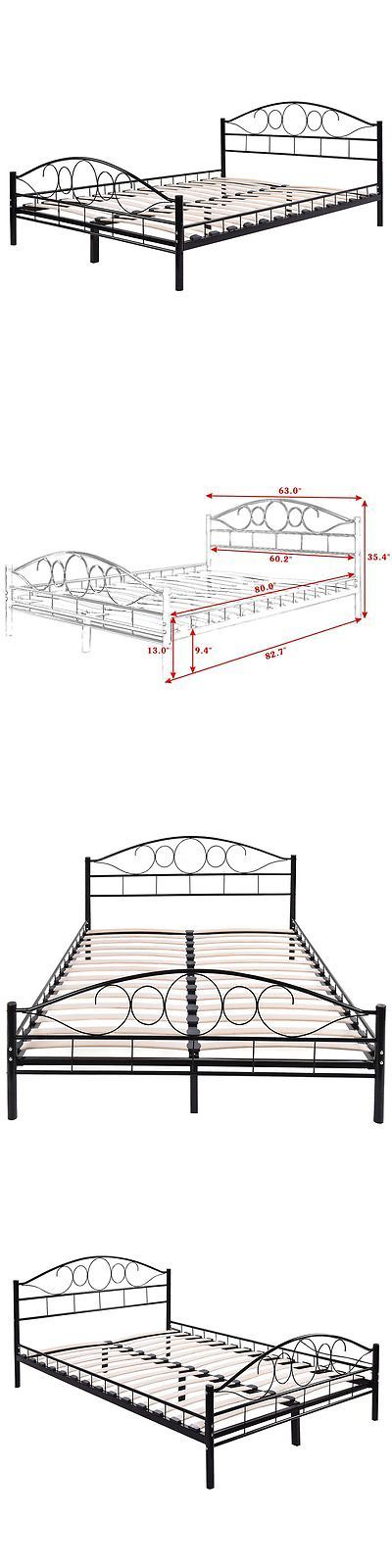 Bedding: Queen Size Wood Slats Steel Bed Frame Platform Headboard Footboard Bedroom Black -> BUY IT NOW ONLY: $109.99 on eBay!
