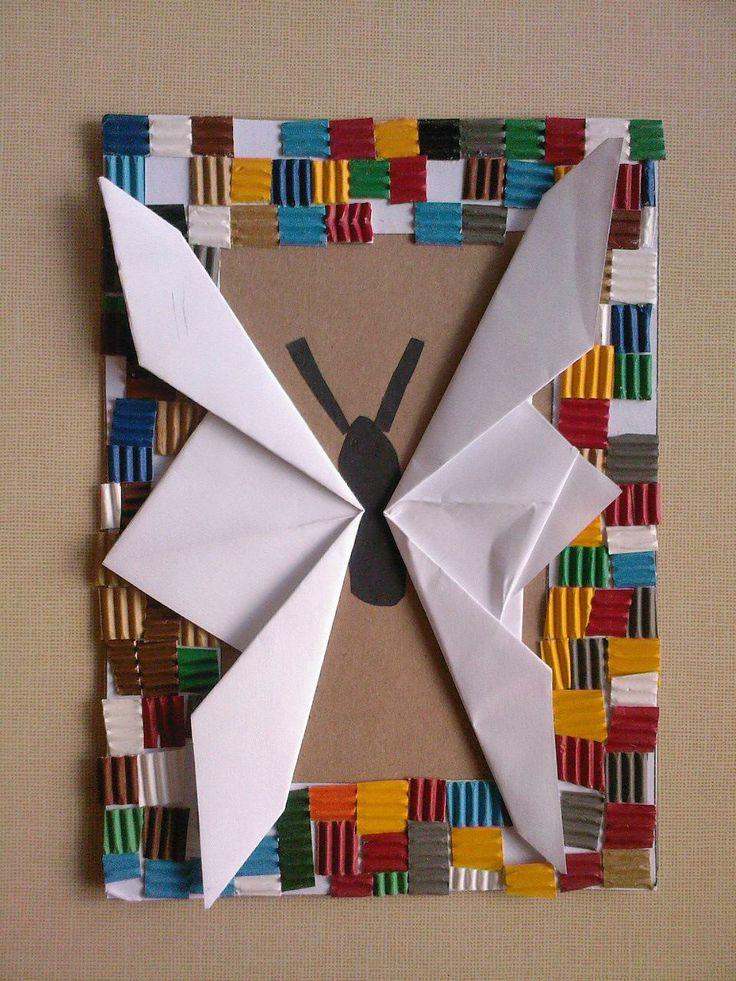 skládaný motýl + rámeček ze čtverečků