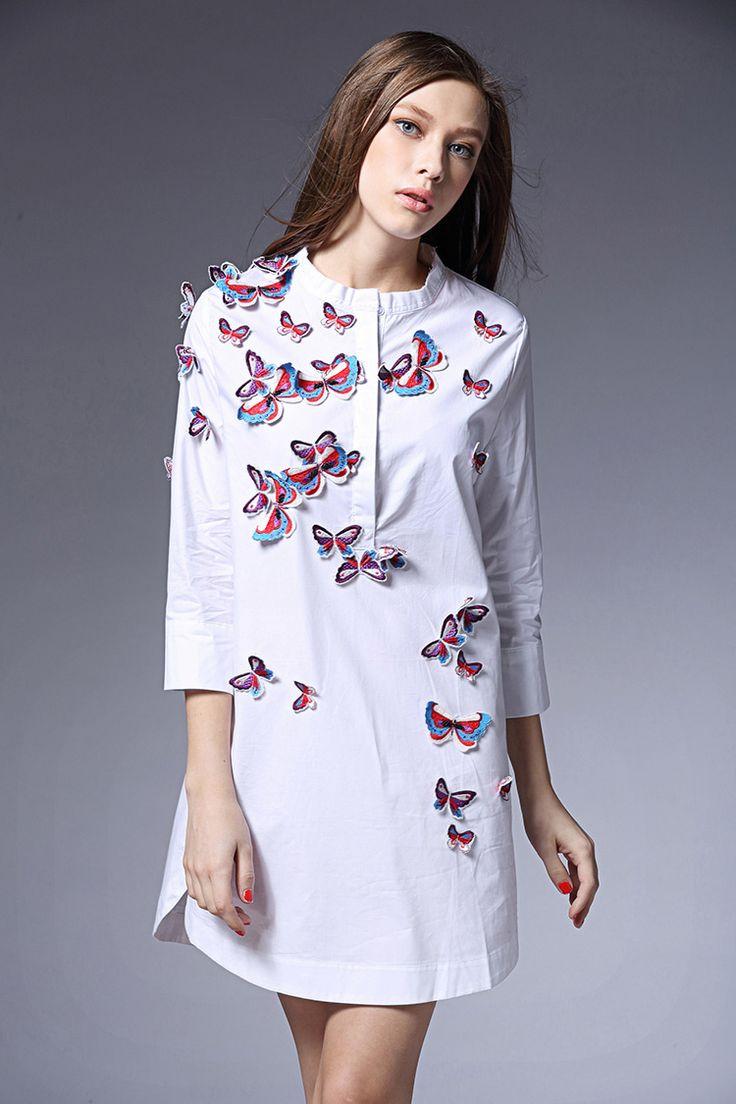Flying Butterfly Model Shirt (B0083)    #caterpillar #barnard #lafond #bernardlafond #cottage glaze #groove #moda #shop #shopping #blouse #womenblouse #girlsblouse #shop