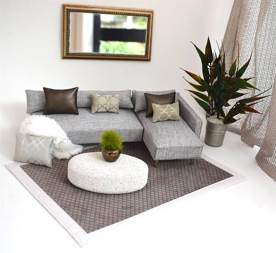 Mad Missys Modern Dolls House Miniatures A Stylish Contemporary L Shaped Sofa Couch Chaise Combination